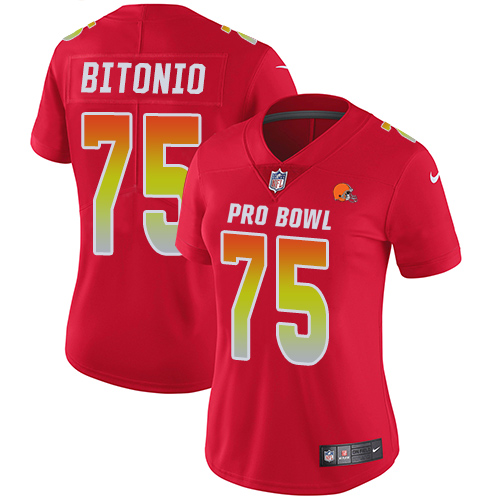 Browns #75 Joel Bitonio Red Women's Stitched Football Limited AFC 2019 Pro Bowl Jersey