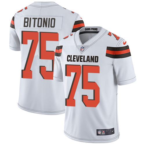 Browns #75 Joel Bitonio White Men's Stitched Football Vapor Untouchable Limited Jersey
