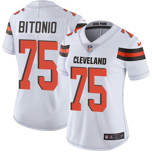 Browns #75 Joel Bitonio White Women's Stitched Football Vapor Untouchable Limited Jersey