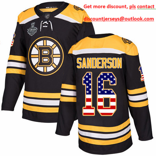 Bruins #16 Derek Sanderson Black Home Authentic USA Flag Stanley Cup Final Bound Stitched Hockey Jersey