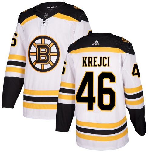 Bruins #46 David Krejci White Road Authentic Stitched Hockey Jersey