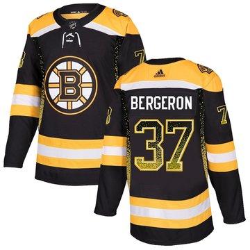 Bruins 37 Patrice Bergeron Black Drift Fashion Adidas Jersey