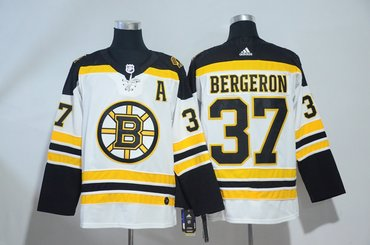 Bruins 37 Patrice Bergeron White Adidas Jersey