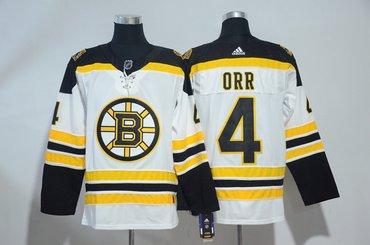Bruins 4 Bobby Orr White Adidas Jersey