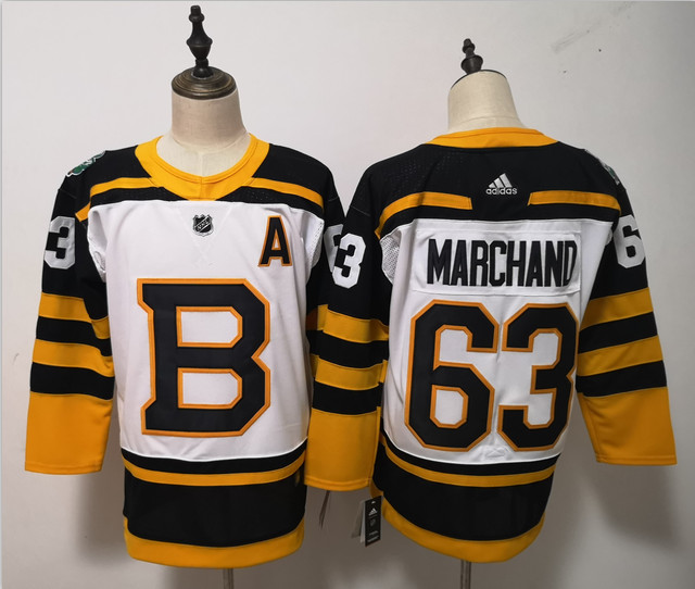 Bruins 63 Brad Marchand White 2019 Winter Classic Adidas Jersey