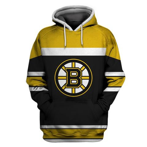Bruins Black All Stitched Hooded Sweatshirt