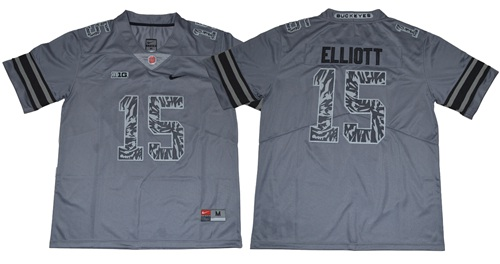 Buckeyes #15 Ezekiel Elliott Gray New Alternate Legend Limited Stitched NCAA Jersey