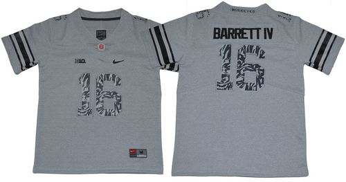 Buckeyes #16 J. T. Barrett IV Gray Alternate Legend Limited Stitched Youth NCAA Jersey
