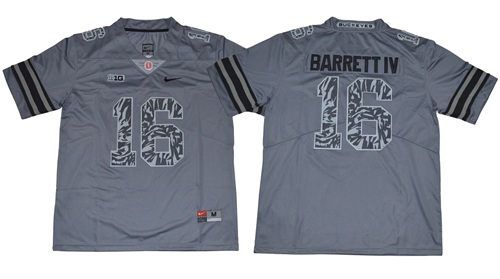 Buckeyes #16 J. T. Barrett IV Gray New Alternate Legend Limited Stitched NCAA Jersey