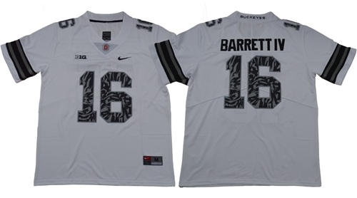 Buckeyes #16 J. T. Barrett IV Light Gray Alternate Legend Limited Stitched NCAA Jersey