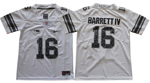 Buckeyes #16 J. T. Barrett IV Light Gray Alternate Legend Limited Stitched Youth NCAA Jersey