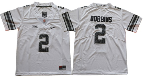 Buckeyes #2 J.K. Dobbins Light Gray Alternate Legend Limited Stitched Youth NCAA Jersey