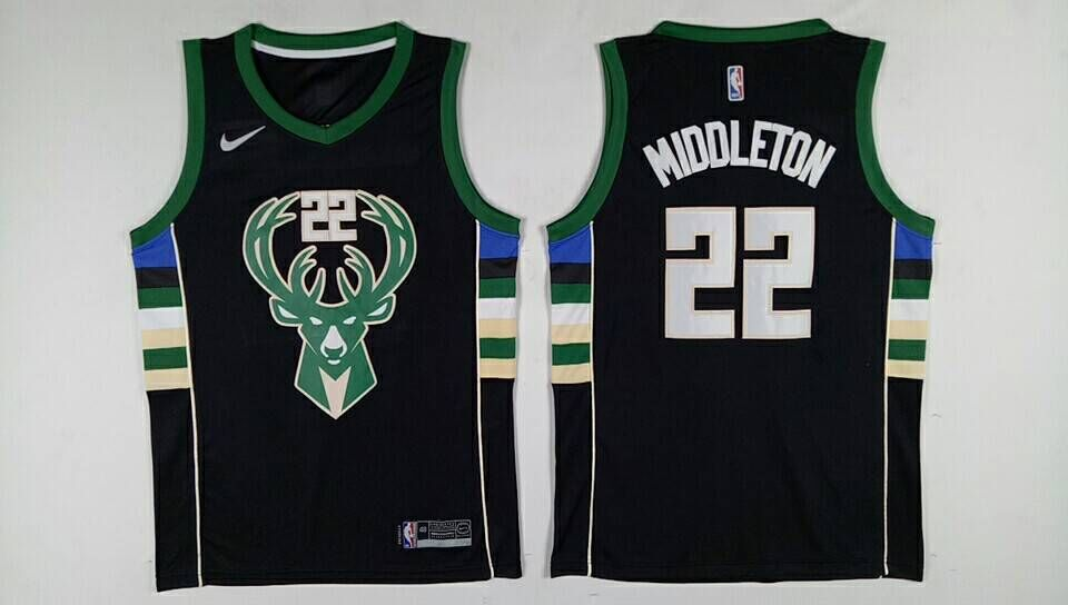 Bucks 22 Khris Middleton Black Nike Swingman Jersey