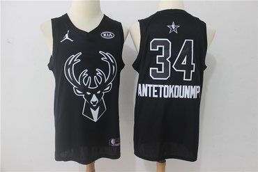 Bucks 34 Giannis Antetokounmpo Black 2018 All-Star Game Swingman Jersey