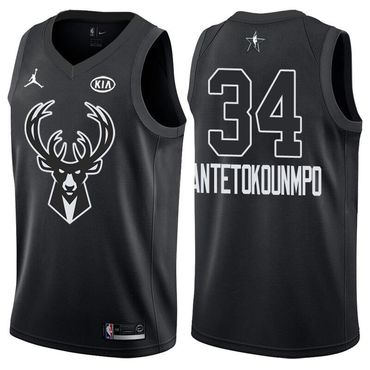 Bucks 34 Giannis Antetokounmpo Jordan Brand Black 2018 All-Star Game Swingman Jersey