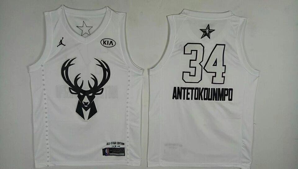 Bucks 34 Giannis Antetokounmpo White 2018 All-Star Game Jordan Brand Authentic Jersey