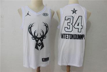 Bucks 34 Giannis Antetokounmpo White 2018 All-Star Game Swingman Jersey