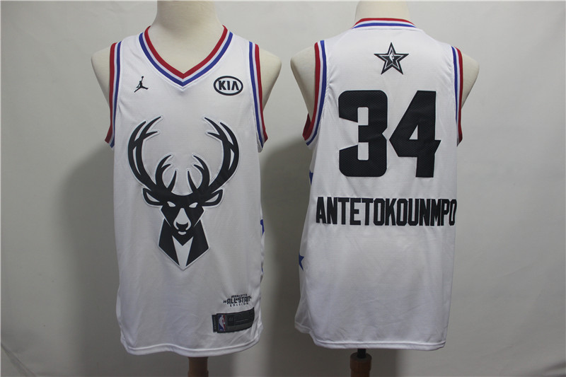 Bucks 34 Giannis Antetokounmpo White 2019 NBA All-Star Game Jordan Brand Swingman Jersey