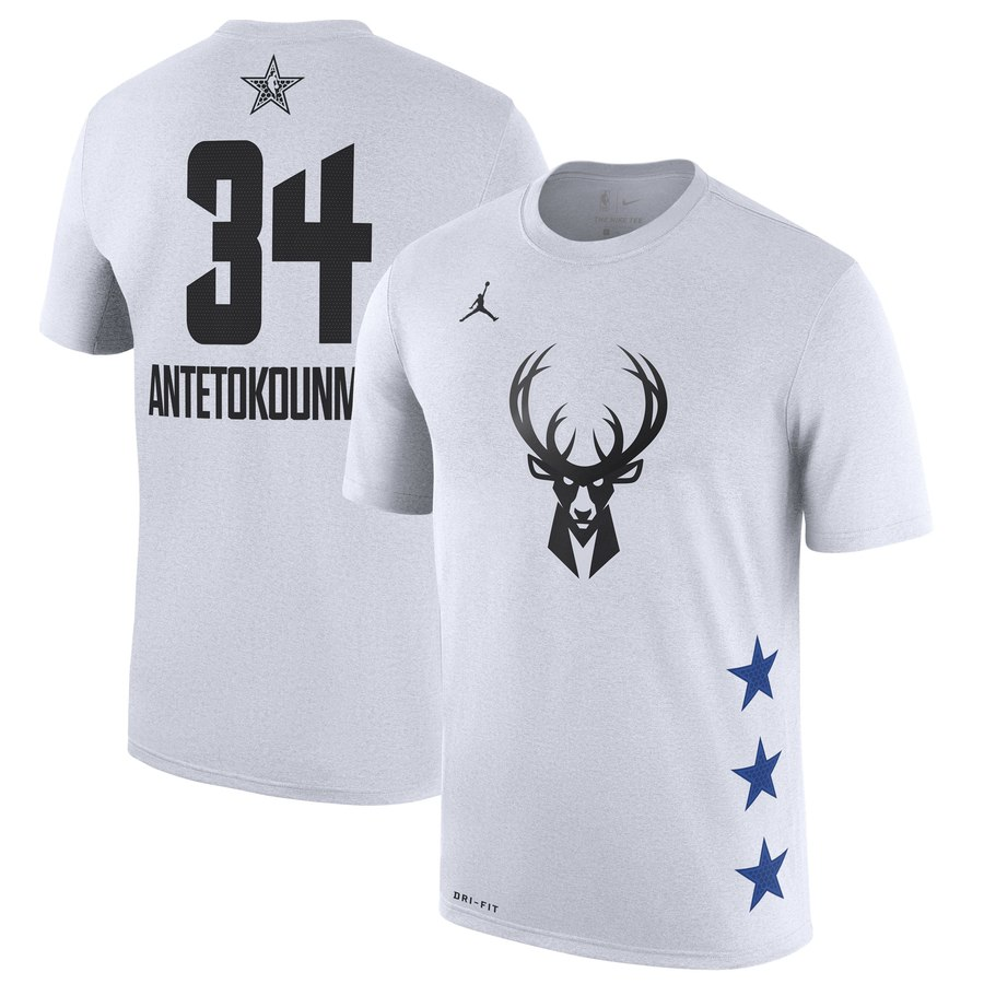 Bucks 34 Giannis Antetokounmpo White 2019 NBA All-Star Game Men's T-Shirt