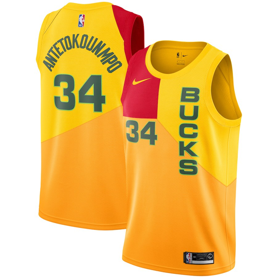 Bucks 34 Giannis Antetokounmpo Yellow 2018-19 City Edition Nike Swingman Jersey
