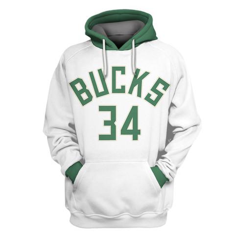 Bucks White All Stitched Hooded Sweatshirt