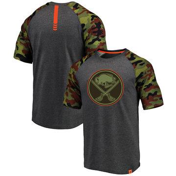 Buffalo Sabres Fanatics Branded Heathered Gray Camo Recon Camo Raglan T-Shirt