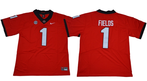 Bulldogs #1 Justin Fields Red Limited Stitched NCAA Jersey$49.00$22.5