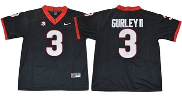 Bulldogs #3 Todd Gurley II Black Limited SEC Patch Stitched NCAA Jersey