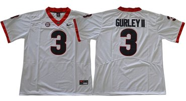 Bulldogs #3 Todd Gurley II White Limited SEC Patch Stitched NCAA Jersey