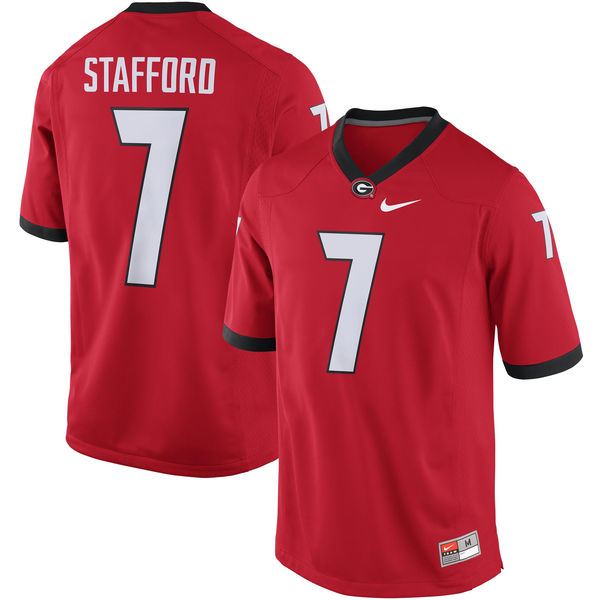 Bulldogs #7 Stafford Red Stitched NCAA Jersey