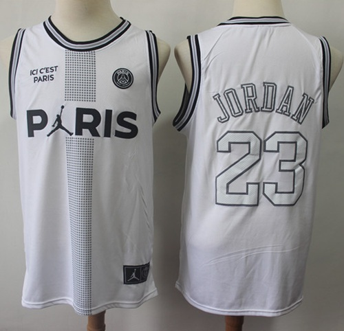 Bulls #23 Michael Jordan White Ici C'est Paris Stitched Basketball Jersey