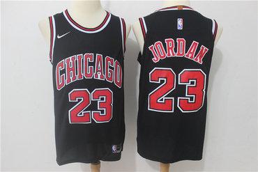 Bulls 23 Michael Jordan Black Authentic Jersey