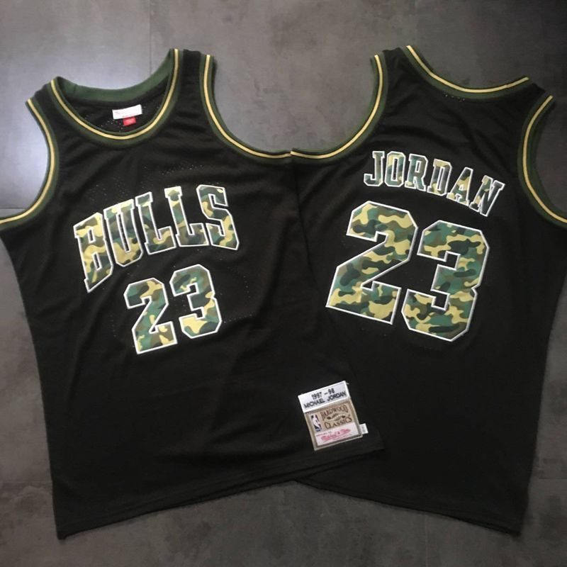 Bulls 23 Michael Jordan Black Camo 1997-98 Hardwood Classics Jersey
