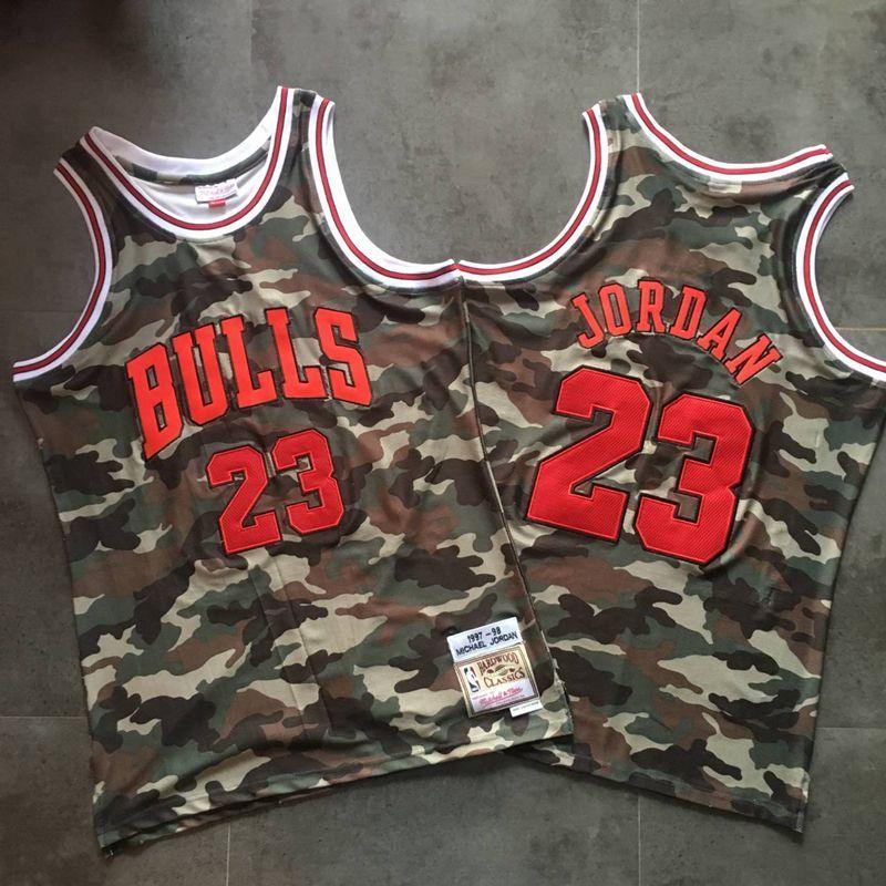 Bulls 23 Michael Jordan Camo 1997-98 Hardwood Classics Jersey