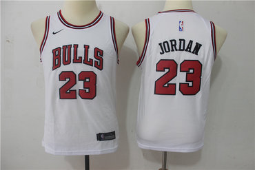 Bulls 23 Michael Jordan White Youth Nike Swingman Jersey
