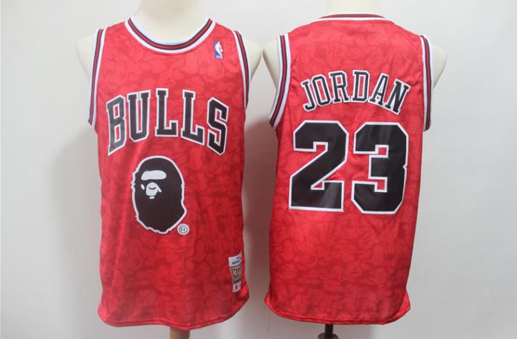 Bulls Bape 23 Michael Jordan Red Hardwood Classics Jersey