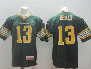 CFL Jersey Edmonton Eskimos #13 Mike Reilly Green Stitched CFL Jersey