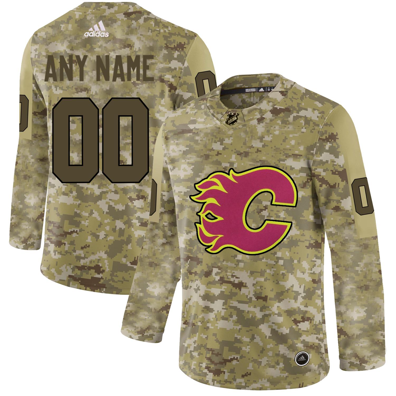 Calgary Flames Camo Men's Customized Adidas Jersey