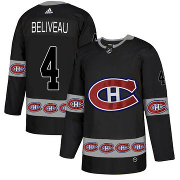 Canadiens 4 Jean Beliveau Black Team Logos Fashion Adidas Jersey