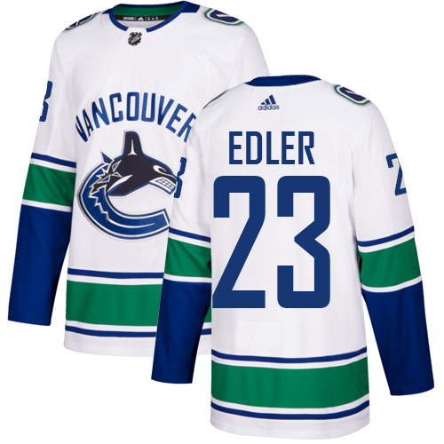 Canucks #23 Alexander Edler White Road Authentic Stitched Hockey Jersey
