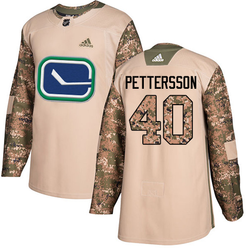 Canucks #40 Elias Pettersson Camo Authentic 2017 Veterans Day Stitched Hockey Jersey