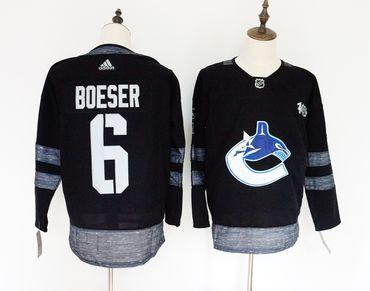 Canucks 6 Brock Boeser Black 1917-2017 100th Anniversary Adidas Jersey