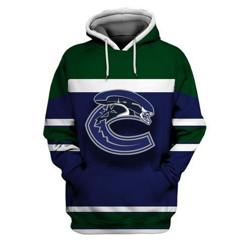 Canucks Blue All Stitched Hooded Sweatshirt