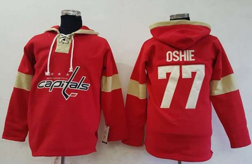 Capitals #77 T.J Oshie Red Pullover Hoodie Stitched NHL Jersey