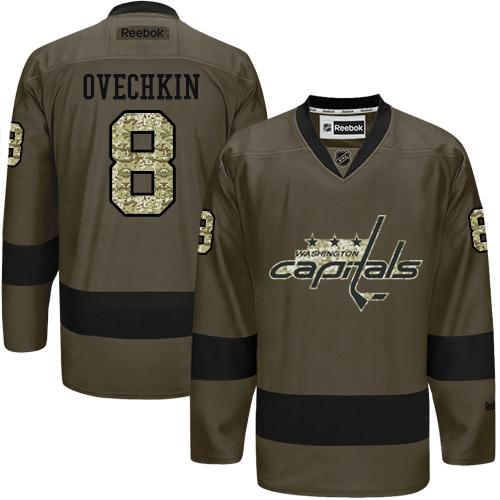 Capitals #8 Alex Ovechkin Green Salute to Service Stitched NHL Jersey