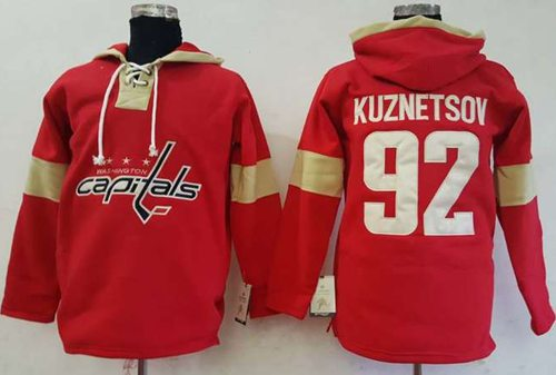 Capitals #92 Evgeny Kuznetsov Red Pullover Hoodie Stitched NHL Jersey