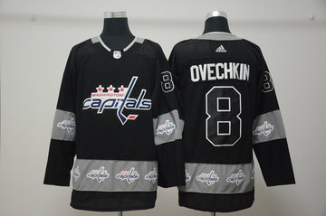 Capitals 8 Alex Ovechkin Black Team Logos Fashion Adidas Jersey