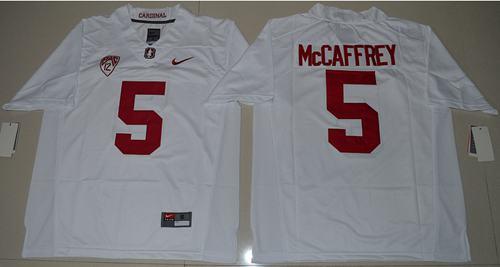 Cardinal #5 Christian McCaffrey White Stitched NCAA Jersey