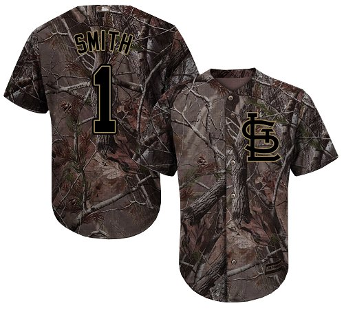 Cardinals #1 Ozzie Smith Camo Realtree Collection Cool Base Stitched Youth Baseball Jersey