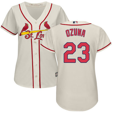 Cardinals #23 Marcell Ozuna Cream Alternate Women's Stitched MLB Jersey